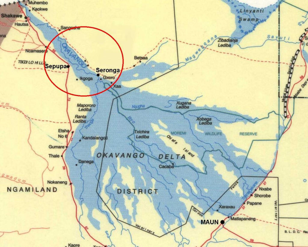 The Okavango Delta with our areas of operation circled in red